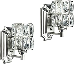 Doraimi 1 Light Prism Crystal Wall Sconce with Brushed Nickel Finish( Set of 2), Modern and Concise Style Wall Light Fixture with Prism Crystal Shade for Bathroom,Hallway,Powder Room,Living Room
