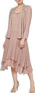 Women's Embellished Chiffon Tiered Jacket Dress
