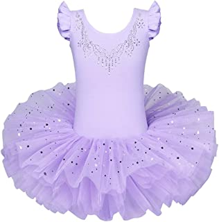 BAOHULU Ballet Leotards for Girls Full Skirted Dance Tutu Dress Party Costumes B184_Purple_L