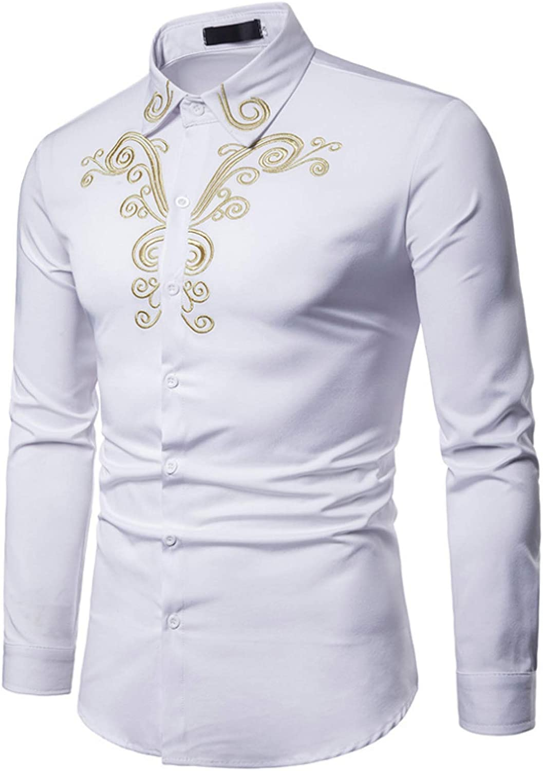 Men's Trendy Embroidered Max 55% OFF Long Sleeve Fit Slim Fashion Spring new work Shirt Clas