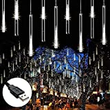 Fishda Meteor Shower Lights with USB Connects, 11.8 Inch 8 Tube 192 LEDs Falling Rain Christmas Lights, Lights for Xmas Tree Wedding Party Yard Outdoor Decorations (White)