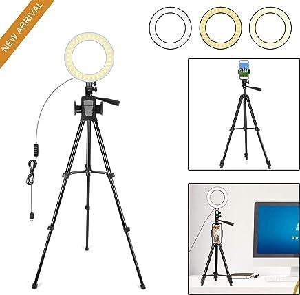 Kit /Éclairage Studio pour Photo Vid/éo Selfie Youtube Ins 3 Modes D/éclairage Womdee Ring Light Compatible avec Cam/éra Et Smartphone 7.9 Dimmable LED Ring Light Luminosit/é 11