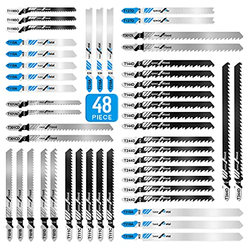 Jigsaw Blades 48pcs, Contractor Assorted T Shank Jig Saw Blades Set, Multi-Purpose HCS/HSS Saw Blades for Wood, Plastic, Metal Cutting
