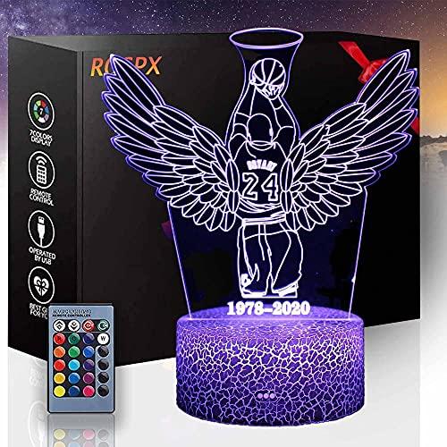 3D LED noche luz Kobe baloncesto amantes 3D ilusión lámpara 16 colores cambiantes lámpara de noche con mando a distancia, regalos de cumpleaños para bebés niños y adultos