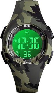 SKNBC Kid Watch Sport LED Alarm Stopwatch Digital Child Quartz Wristwatch for Boy Girl (A-Camouflage)