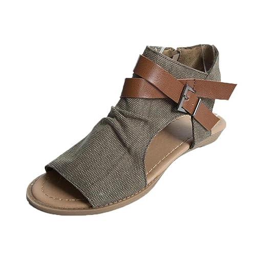 ab6a2724545 Sunday Women Summer Fashion Soft Flat Heel Sandals Ladies Cute Solid Ankle  Strap Beach Flip-