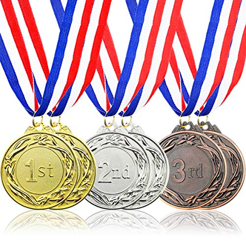 Juvale 6-Piece Set Metal Olympic Style Award Medals with Ribbons in Gold, Silver, and Bronze