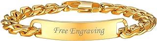Custom ID Bracelet Men Women Stainless Steel 7MM Wide Cuban Curb Link Chain Personalized Message Engrave Bar Bracelet Bangle, Length 19CM to 21CM