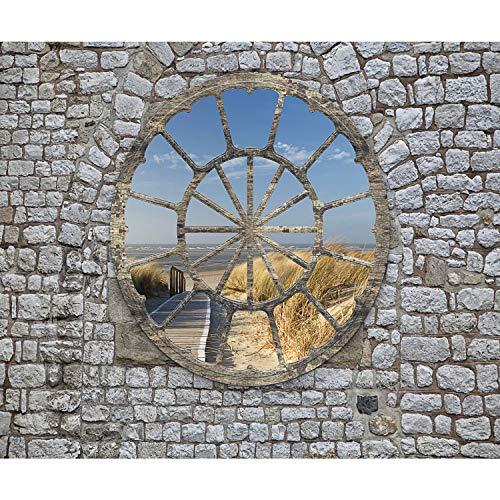 decomonkey Fototapete Strand Meer Landschaft 350x256 cm XXL Design Tapete Fototapeten Tapeten Wandtapete moderne Wand Schlafzimmer Wohnzimmer Fensterblick Steinwand Stein
