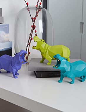 HAUCOZE Hippo Statue Decor Animal Sculpture Figurine Modern Art for Home Gifts Kids Polyresin Green 18cmL