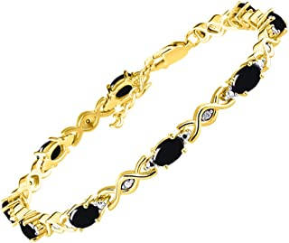 """RYLOS Stunning XOXO Hugs & Kisses Tennis Bracelet Gemstones & Genuine Diamonds in Sterling Silver .925 or 14K Yellow Gold Plated Silver - 10-6X4MM Color Stones - Adjustable to Fit 7""""-8"""" Wrist"""