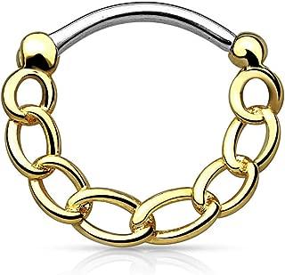 WildKlass Jewelry Septum Clicker 16g Round Chain Septum Ring