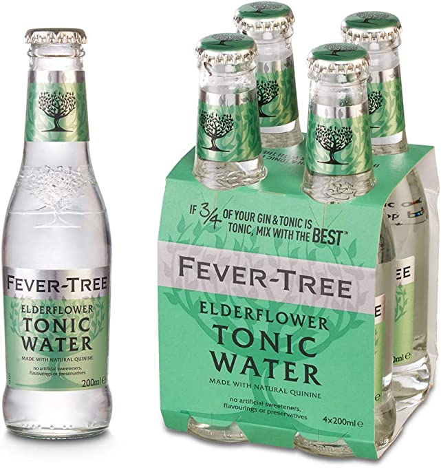 Fever tree Elderflower Tonic Water Bottles, 200 ml (Pack Of 24)