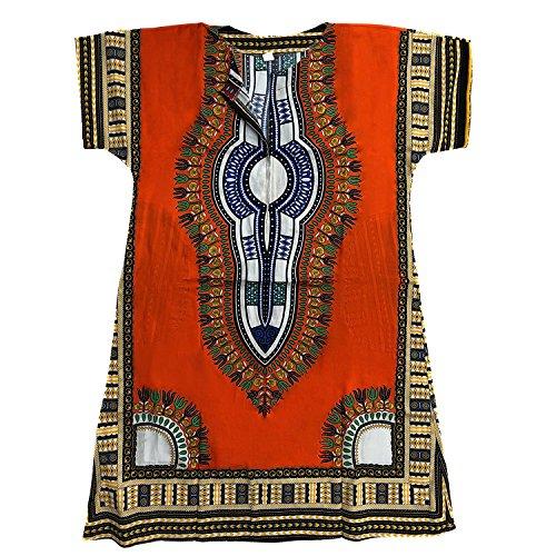 Homes & Deco Bekleidung Dashiki afrikanisches traditionelles mexikanisches Hemd Kaftan mit Reißverschluss & 2 Seitentaschen für Männer & Frauen – Orange