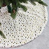 McNory 90cm Falda del árbol de Navidad,Piel sintética Faldas de árbol Blanco de Navidad Falda para Navidad Fiesta de año Nuevo Vacaciones en casa decoración(Estrellas Doradas)