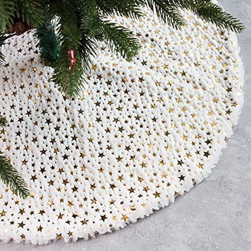McNory 90cm Peluche Jupe de Sapin de Noël,Blanc Christmas Tree Skirt White Neige Couvre Pied Sapin Noel Jupe...