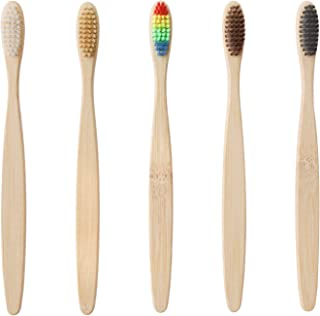 Bamboo Toothbrush Biodegradable Eco-Friendly Toothbrush Soft nylon bristles on Travel Toothbrush Colorful Pack of 5