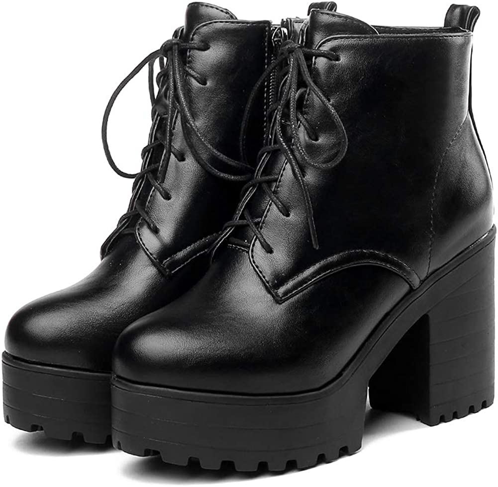 CYNLLIO Women's Lowest price challenge Max 71% OFF Fashion Chunky High Platform Ankle Heels Combat