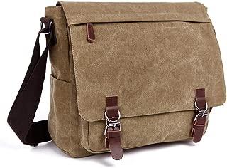 Men Classic Canvas Messenger Shoulder Bag, Adjustable Shoulder Strap Big Capacity Crossbody Sling Bag Convenient Retro Style Leisure Hiking Sports Outdoor (Color : Khaki)