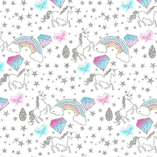 Eenhoorns Gedrukt Canvas Fabric Sheet x 1 voor Hair Bow Making sjablonen en andere ambachten