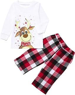 shengyijia Whole Family Christmas Pajamas Outfits Parents Kids Cartoon Cartoon Elk Print Sweatshirt Colorblock Plaid Sweat...