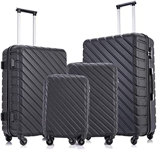 Fridtrip 4 Pieces Travel Suitcase Sets Hardshell Lightweight Luggage with Spinner Wheels Luggage Sets (4 PCS Suitcases, Bl...
