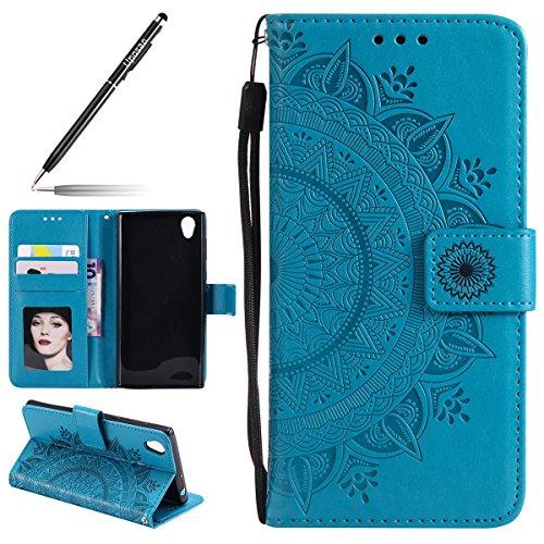 Uposao Kompatibel mit Sony Xperia L1 Handy Schutzhülle Vintage Lederhülle Ledertasche Dünn Leder Handy Tasche Klapphülle Flip Cover Bookstyle Cover mit Standfunktion Karteneinschub,Blau