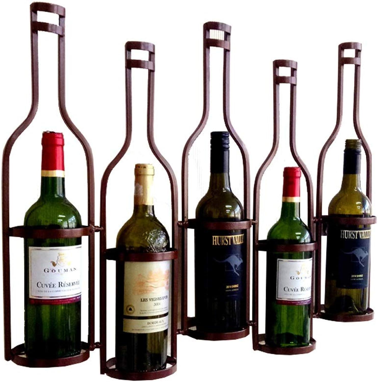 European Retro Wrought Iron Wine Rack Hanging Wine Cabinet Wine Lattice Decoration Rack (color   Bronze)