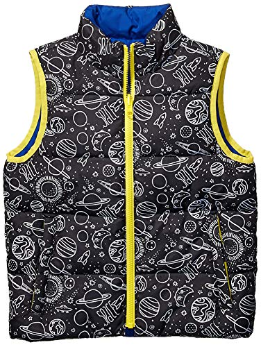 Spotted Zebra Reversible Puffer Vest Infant-and-Toddler-Down-Alternative-Outerwear-Coats, Space/Blue, 4T