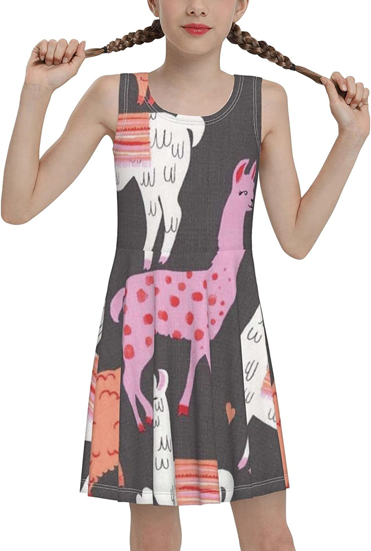 AMRANDOM Girl's Print Sleeveless Round Neck Swing Casual Sundress Flare Dress for Summer