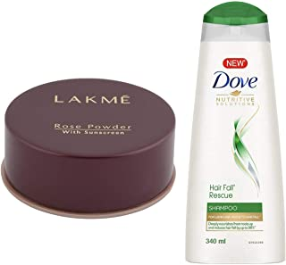Lakme Rose Face Powder, Warm Pink, 40g & Dove Hair Fall Rescue Shampoo, 340ml