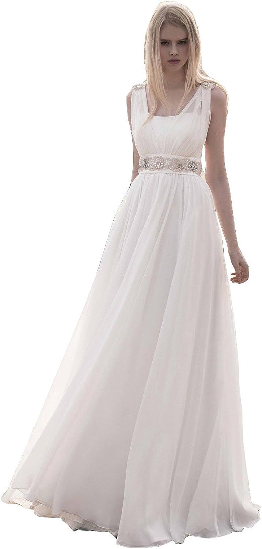 Irenwedding Women's Beaded Strap Zipper Open Back Crystals Pearls Beach Wedding Dress