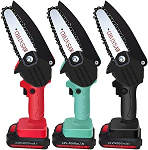 Mini Chainsaw 4 Inch Small Rechargeable Lithium Battery One Handed Operated Portable Cutting Tree Electric Handheld Cordless Pruning Saw for Woodworking Garden Chain Saws (red)