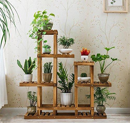 Porte Plante En bois plante fleur présentoir en bois Pot étagère en rack Atterrissage intérieur extérieur multi-couche Pots titulaire 115 * 35 * 110 CM Étagères à fleurs