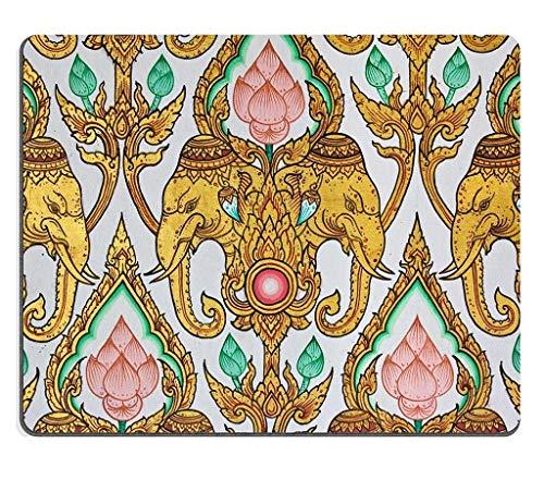 Naturkautschuk Gaming Mousepad Traditionelle thailändische Elefanten- und Lotosblume Musterdesign an der Wand im Tempel (Mauspad/Gaming-Mauspad)