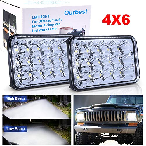 High/Low Sealed Beam 4x6 inch Headlights, 2Pcs Rectangular Headlights 6x4 H4 Plug H4651 H4652 H4656 H4666 H6545 bulb Headlamps for KW Ken-worth T600 W900 T800 Truck 1 Pair