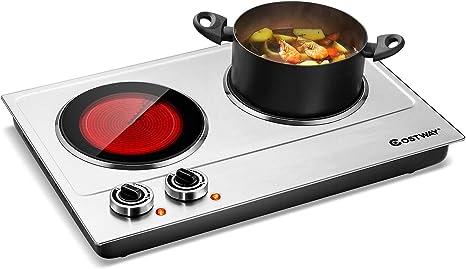 Amazon Com Estufa Eléctrica Portátil 2 Plato Caliente 1800 W Doble Quemador Eléctrico Inducción Cocina Encimera 8 Niveles De Temperatura Variable Ajuste Led Cocina Digital Kitchen Dining