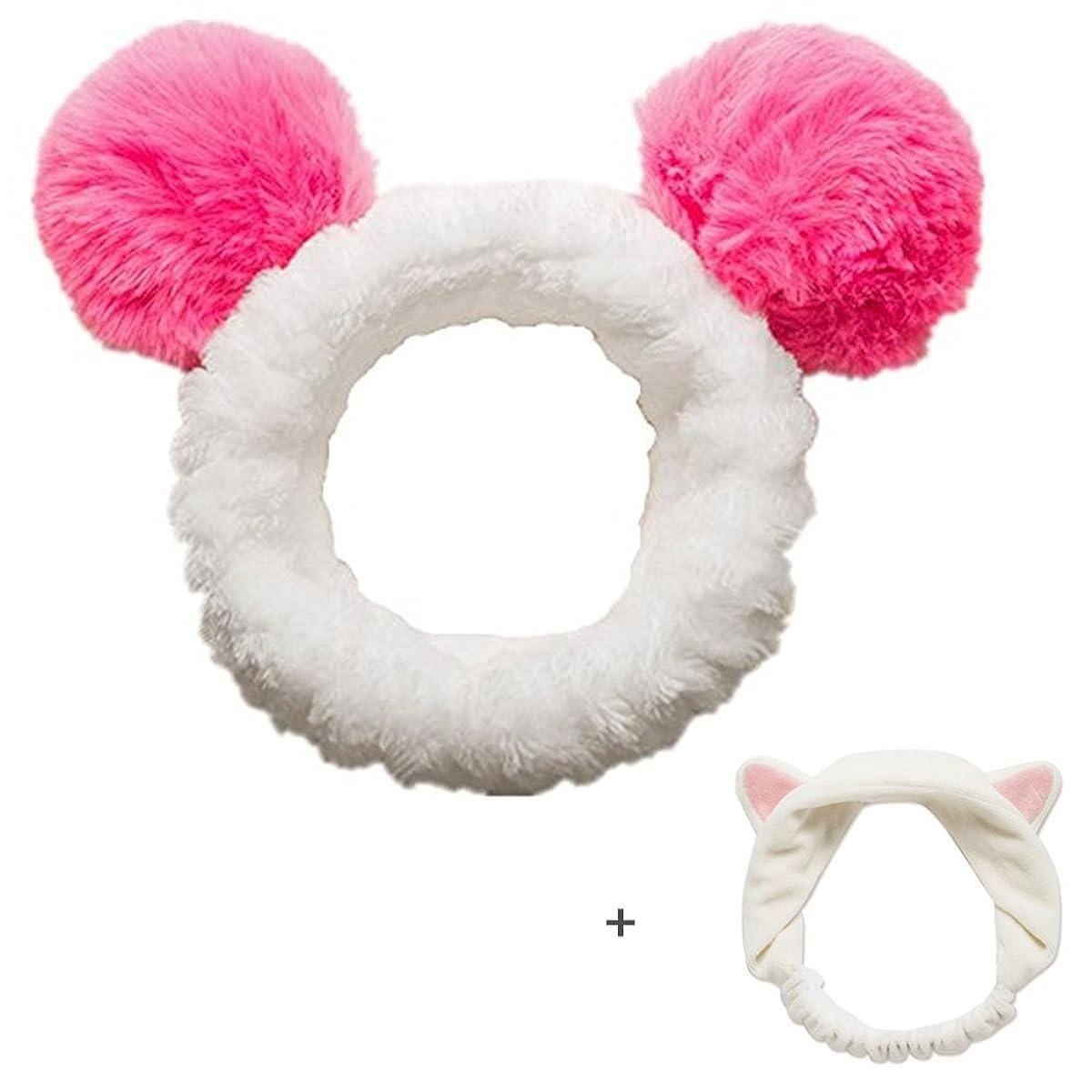 宗教的な彼ら天皇可愛い パンダ 猫耳 2枚セット ヘアドライタオル ドライターバン 吸水速乾 吸水タオルキャップ (レッド)