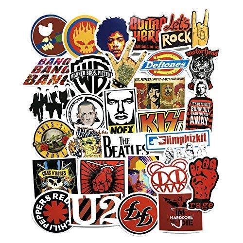jaglo 50Rock Musik U2Zunge Linkin Park Kiss Muse Dead Kennedys The Who Jazz Radio Blur AC DC The Beatles Iron Maiden John Lennon The Who Green Day Auto Aufkleber Laptop Skateboard Gitarre Aufkleber