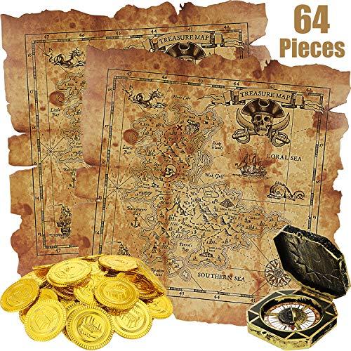 64 Stücke Piraten Themen Spielzeug, enthält 60 Stücke Piraten Gold Münzen, Gefälschte Münzen, 2 Stücke Schatzkarte und 2 Stücke Piraten Kompass für Schatzsuche Spielset Spielzeug Party Gefallen