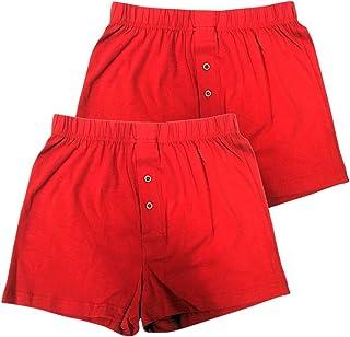 赤パンツの元祖 巣鴨のマルジ ニットボクサートランクス(前開き・ボタン二個付)二枚組(M/L/LL)
