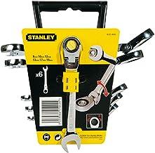 Stanley 4-91-444 Combinatiesleutels met Rateldraaiend, Zilver, Set van 6 stuks
