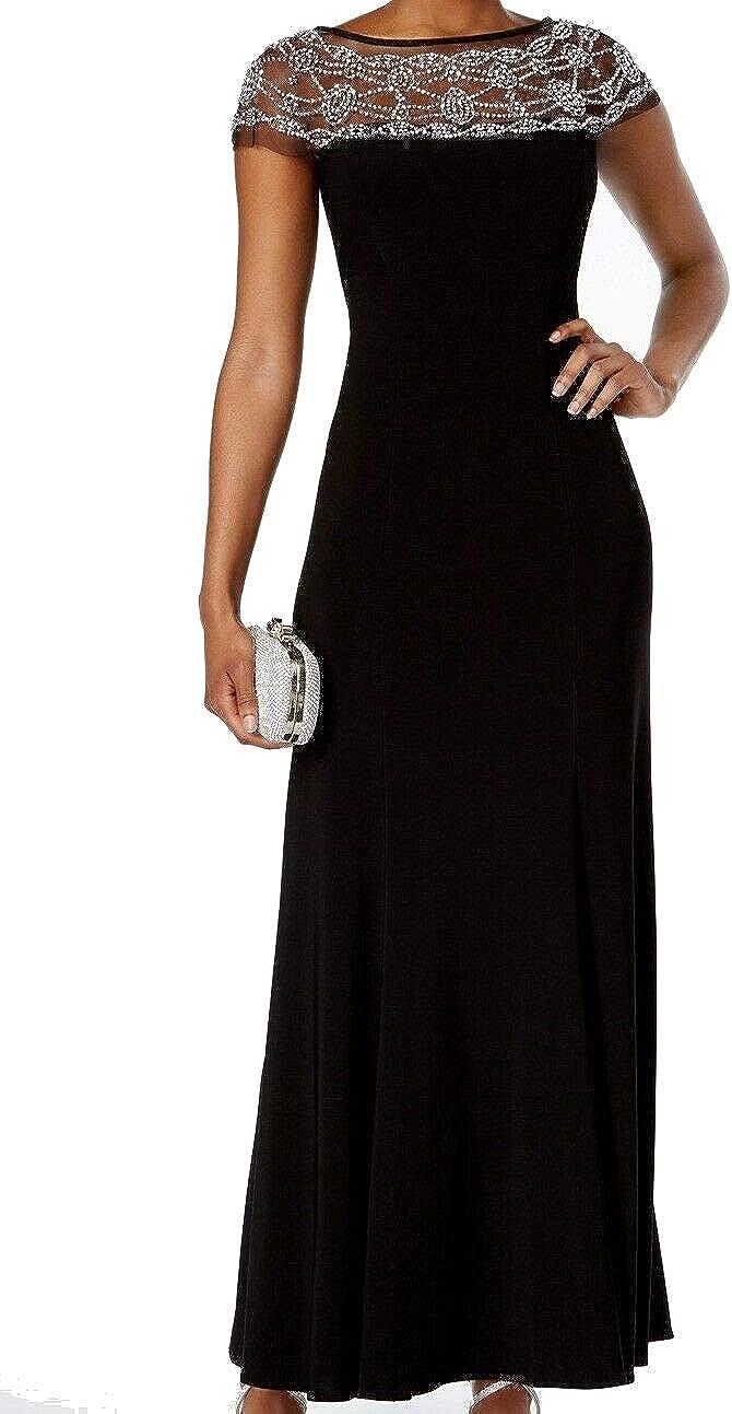 R&M Richards Womens Beaded Black Tie Evening Dress