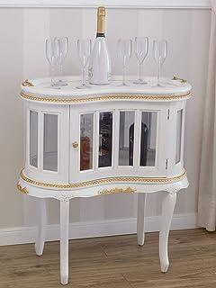 SIMONE GUARRACINO LUXURY DESIGN Table Basse Coloniale Haricot vitrine Bar casier Porte-Bouteilles Style Baroque Décapé Ivo...