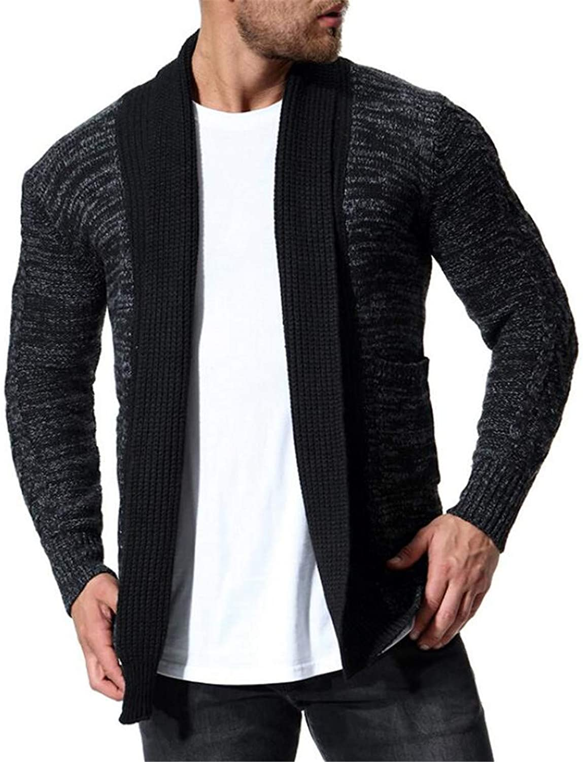 SELX SELX SELX Men Shawl Collar Contrast color Long Sleeve Knit Cardigan Coat aeb9d4