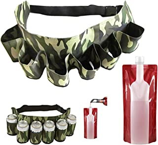 SENHAI Beer Soda Can Belt Holder, Holds 6 Beverages, Camouflage Travel Pouch with Adjustable Belt Strap for Hiking Camping Picnic Beach Barbeques, with 1pcs 750 ml Foldable Wine Bag