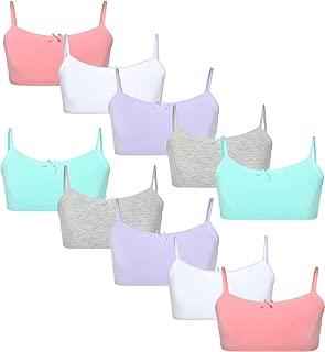 Rene Rofe Girls Cotton Spandex Cami Crop Training Bra with Adjustable Straps (10 Pack)