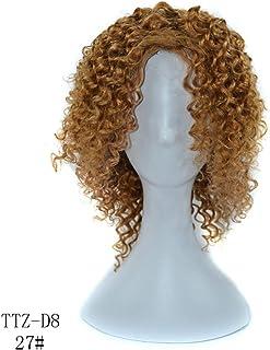 BOBIDYEE 100%本物の人間の髪の毛の深いカーリーライトボーンウィッグ14インチ220グラム髪フルヘッド女性のかつらのかつら (色 : Light bown, サイズ : 14 inch)