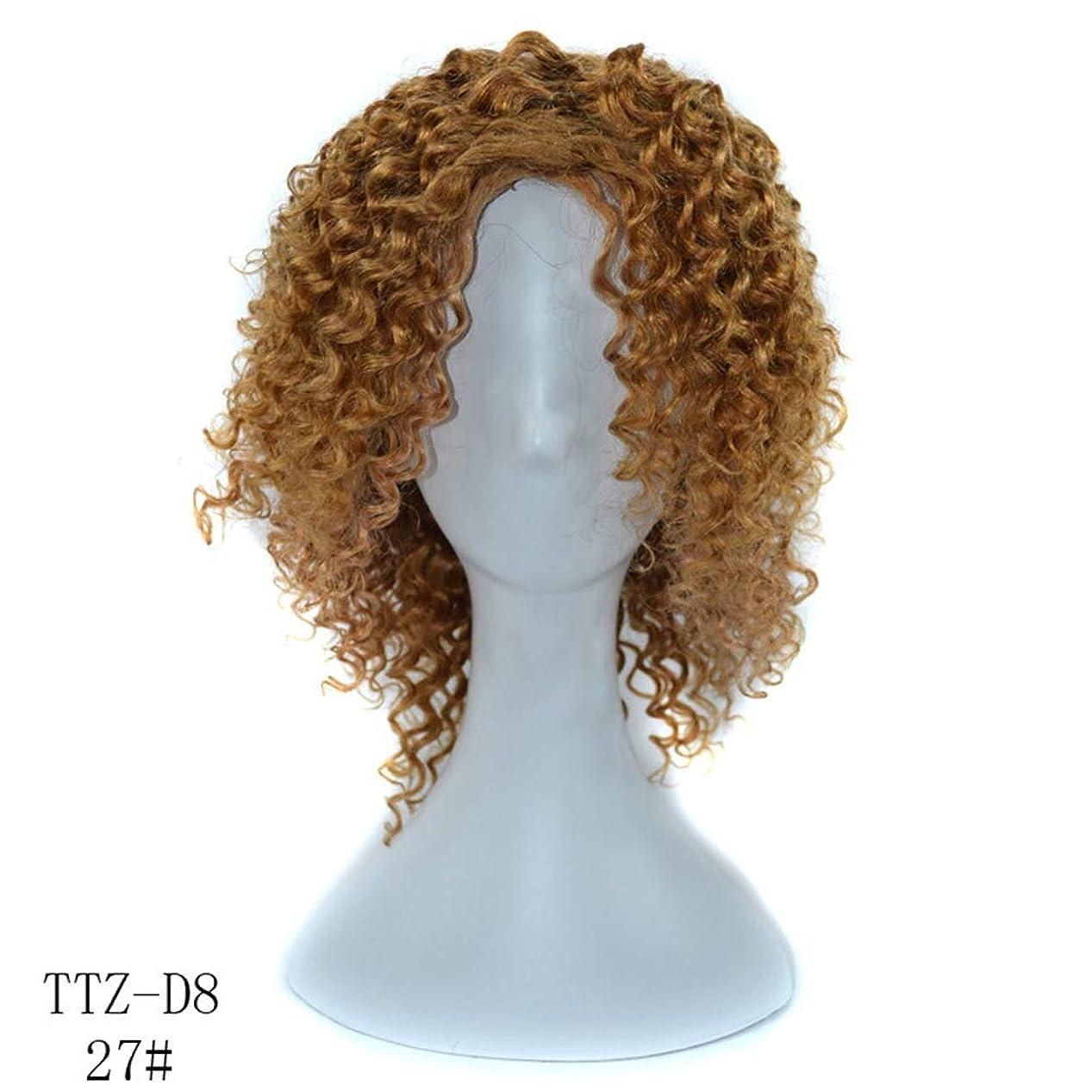 恩赦病なドナーYrattary 100%本物の人間の髪の毛の深いカーリーライトボーンウィッグ14インチ220グラム髪フルヘッド女性のかつらのかつら (Color : Light bown, サイズ : 14 inch)