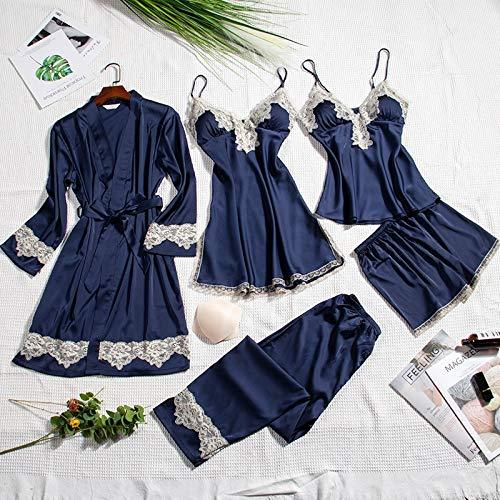 Dames Pyjama,5 Stuks Satijnen Nachtkleding Met Borstkussen Vrouwen Pyjama Sexy Kanten Lingerie Loungewear Slaap Zijde Homewear